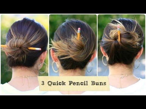 3 quick pencil bun ideas  backtoschool hairstyles  youtube