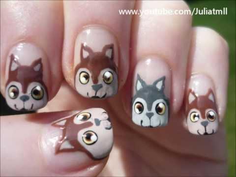 squirrel wolves nail art animal