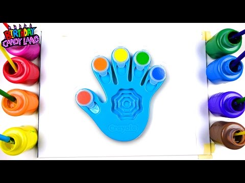 Learn Colors for Kids and Hand Paint with Crayola Hand Finger Painting Toy