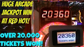 BIGGEST ARCADE JACKPOT WIN ON FILM?! WINNING 20,000+ TICKETS ON RED HOT! | Arcade Games Fun | Jdevy