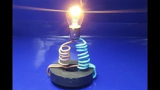 free energy generator for light bulb using copper wire and magnet | science projects simple at home