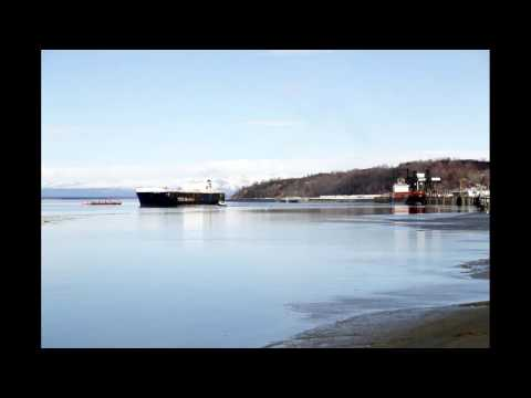 Time Lapse of Container Ship Leaving Port  of Anchorage