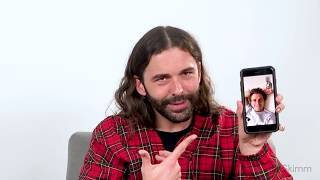 Jonathan Van Ness texts with theSkimm