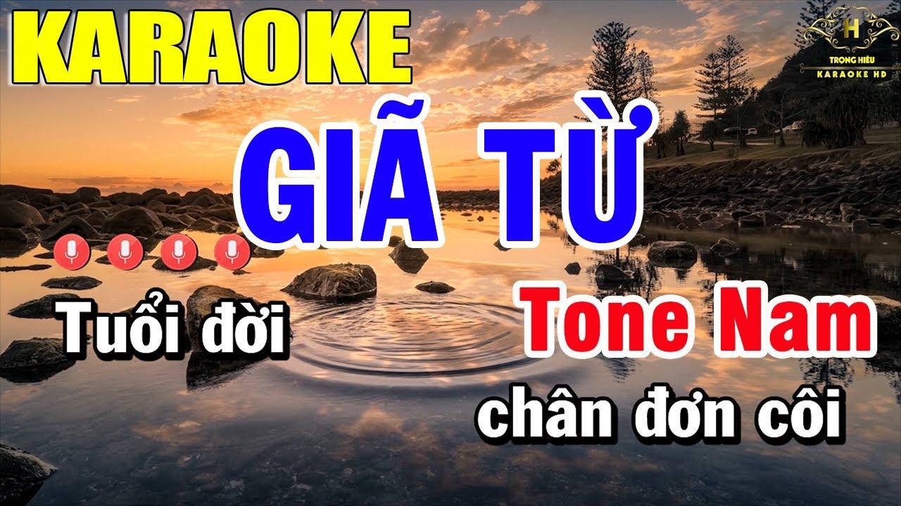 Giã Từ Karaoke Tone Nam Nhạc Sống | Trọng Hiếu