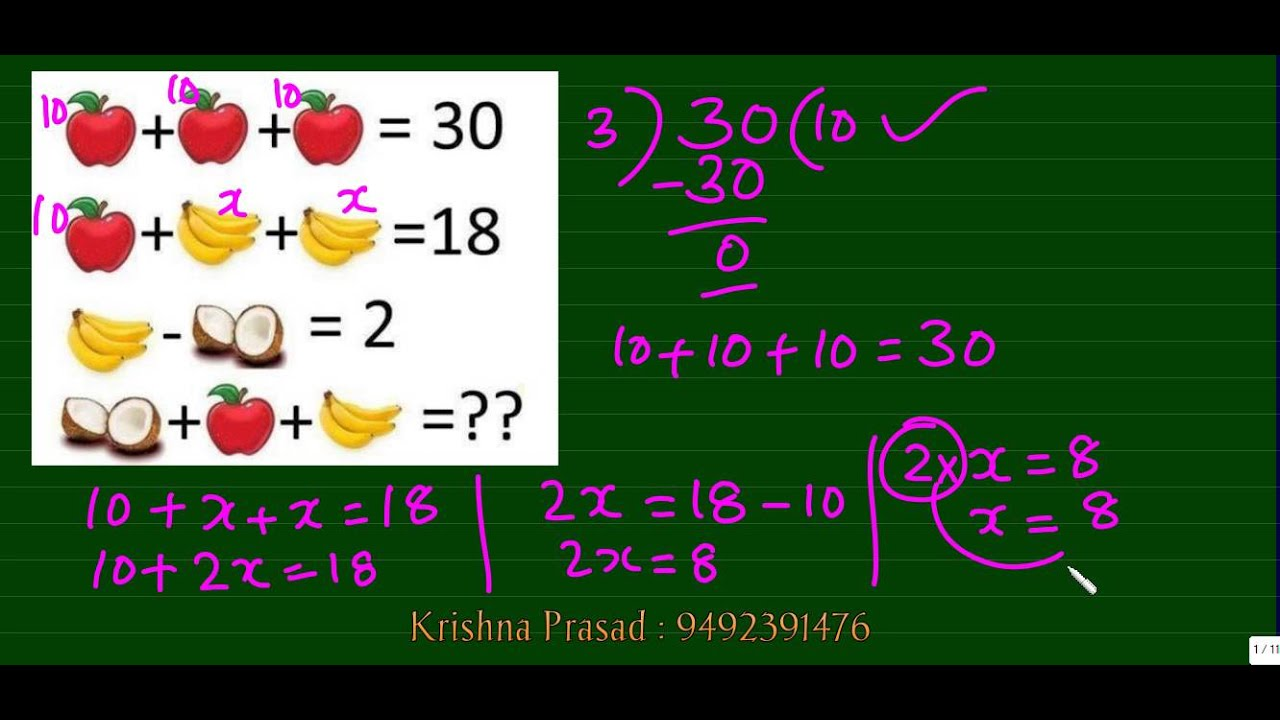 Maths Puzzle / Maths game /Maths Quiz , Find the values of the ...