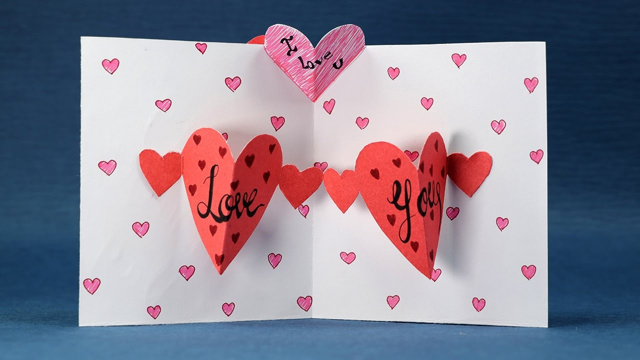 Happy Valentines Day Card DIY Pop Up Heart Card Step by Step – Pop Up Valentines Day Card