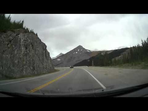 Ultralapse Glacier Ice fields to lake louise Alberta
