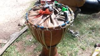 How to skin a djembe drum (basic)