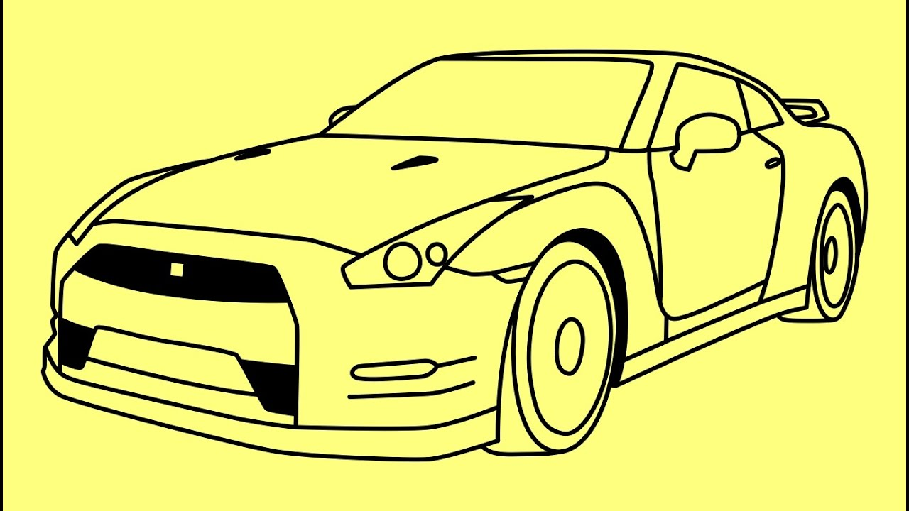 How to draw a car Nissan GTR Fast and Furious 7 - Как нарисовать ...