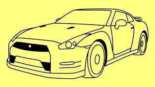 How to draw a car Nissan GTR Fast and Furious 7 - Как нарисовать машину Ниссан - Cómo dibujar Nissan