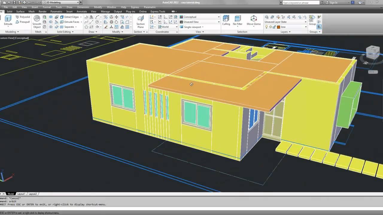 Tutorial autocad 3d 2012 espa ol modelar una casa parte 5 youtube - Progettare casa 3d gratis ...