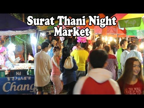 Floating Market in Surat Thani: Tasty Thai Street Food. A Walk Around A Night Market in Thailand