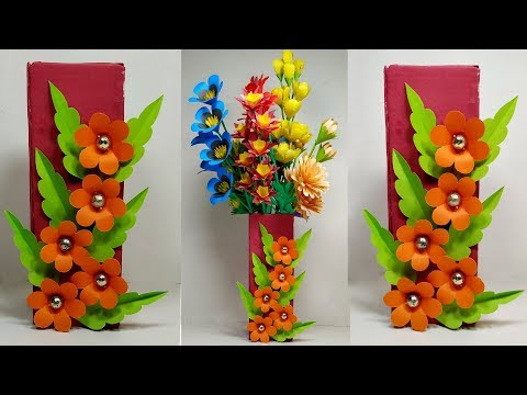 How to Make Flower Vase - DIY Making Beautiful Paper Flower Vase - Jarine's Crafty Creation
