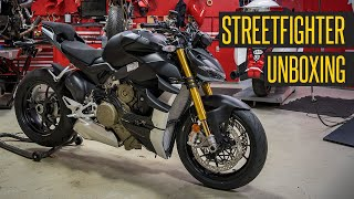 First 2021 Ducati Streetfighter V4 S in Stealth Black In the USA!! Unboxing Video