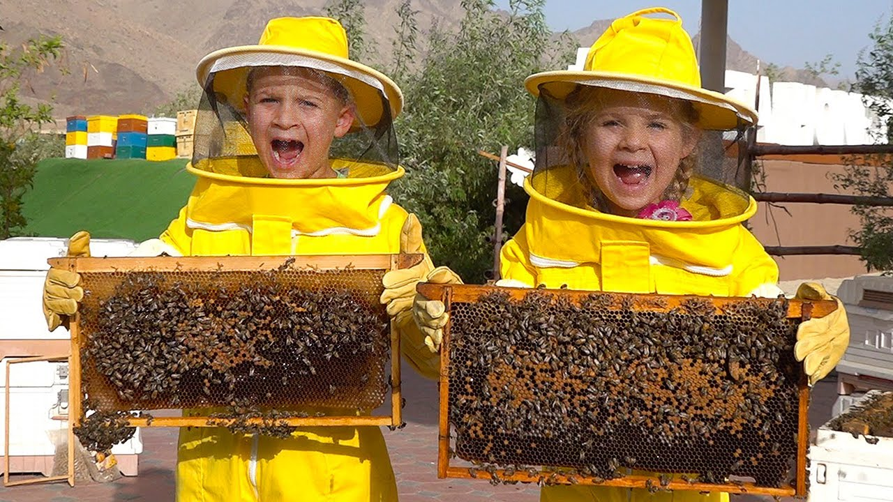 Diana and Roma Learn about Bees, HATTA Honey Bee Garden Tour - Fun family trip