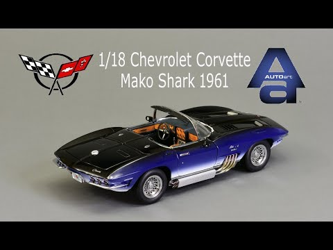 1/18 Autoart 1961 Chevrolet Corvette Mako Shark Diecast Model Car
