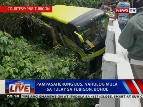 NTVL: Pampasaherong bus, nahulog mula sa tulay sa Tubigon, Bohol