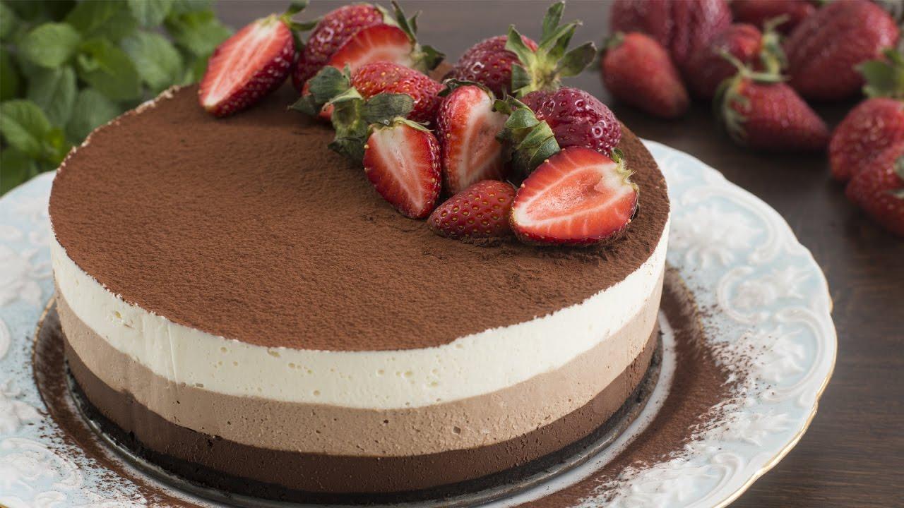 No Bake Triple Chocolate Mousse Cake Recipe Youtube