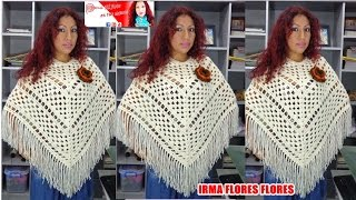 Repeat youtube video PONCHO CALADO TEJIDO A CROCHET PARA DAMA PASO A PASO