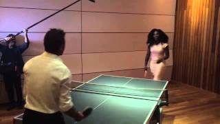 Serena Williams and Stan Wawrinka play table tennis in New York City