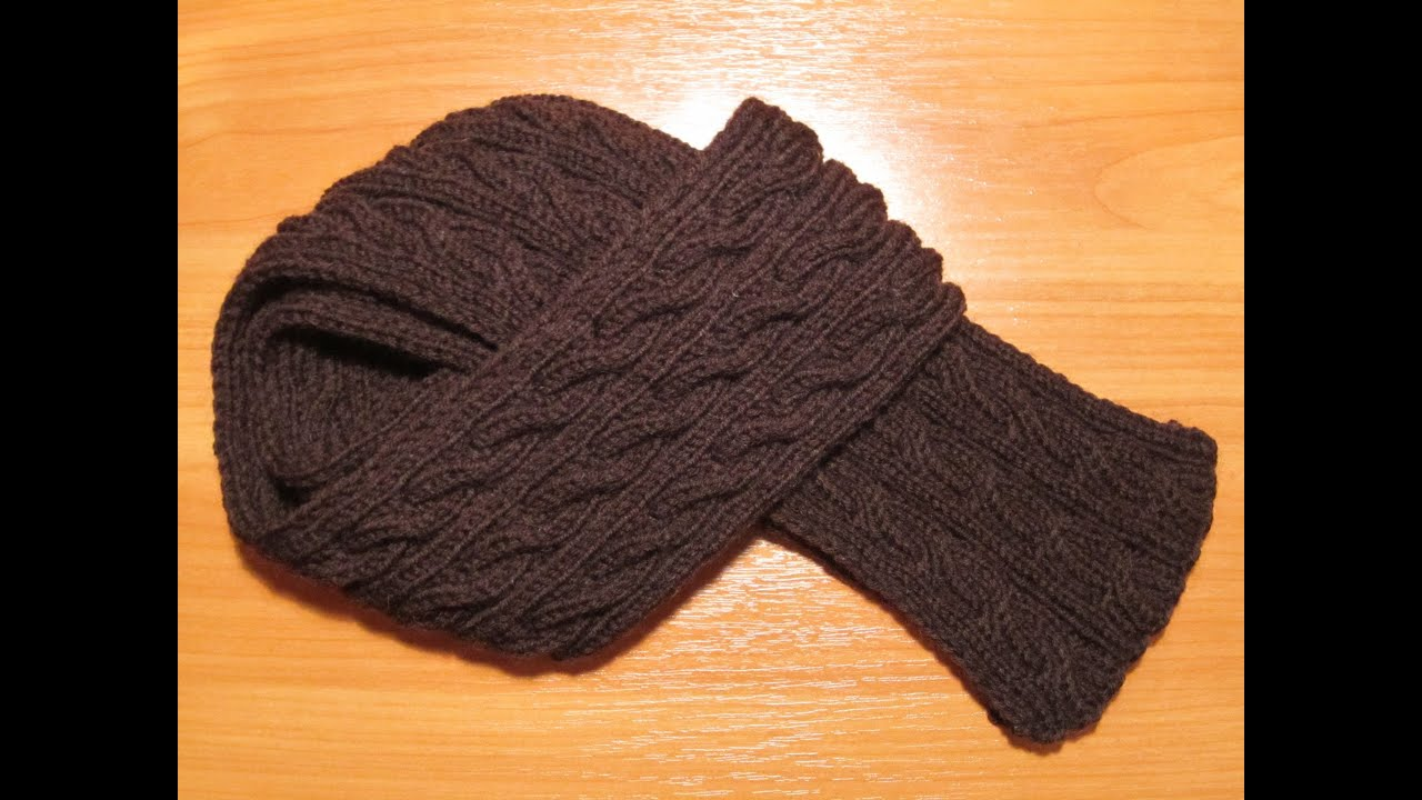 шарф спицами с двусторонним рисунком
