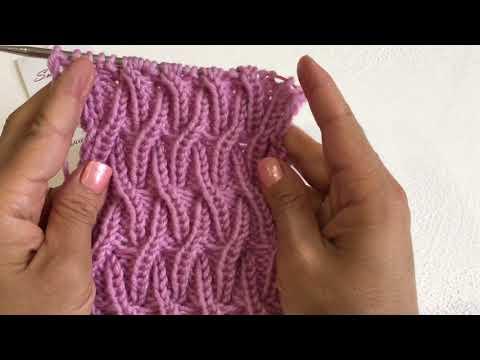 Вяжем по кругу и поворотными рядами узор танцующие косы или плетенка резинка спицами