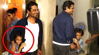 Nawazuddin Siddiqui's CUTE Daughter Shora Trying To Hide From Media At Munna Michael Screening