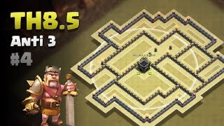 Clash of Clans ⚫ TH8.5 Anti 3 Star War Base #4 ⚫ No CC Lure ⚫ Full Walls, AQ, 4 ADs & All Traps