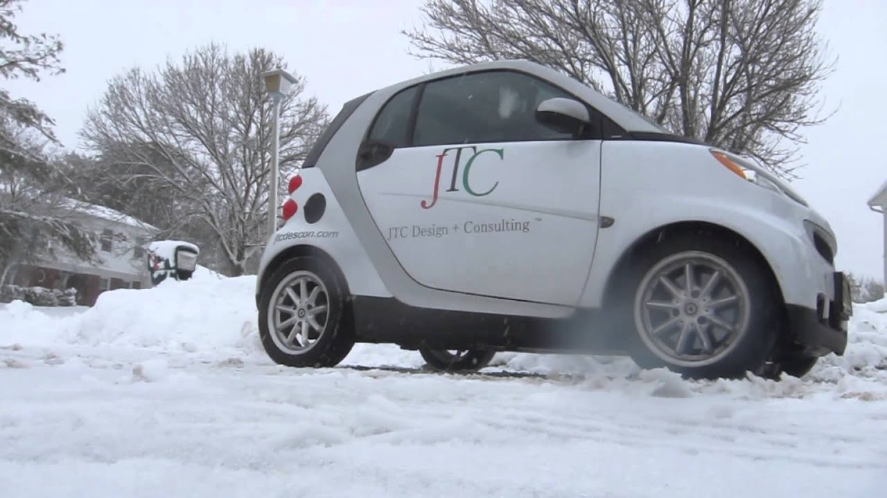 Smart Car Driveway Drifting In The Snow