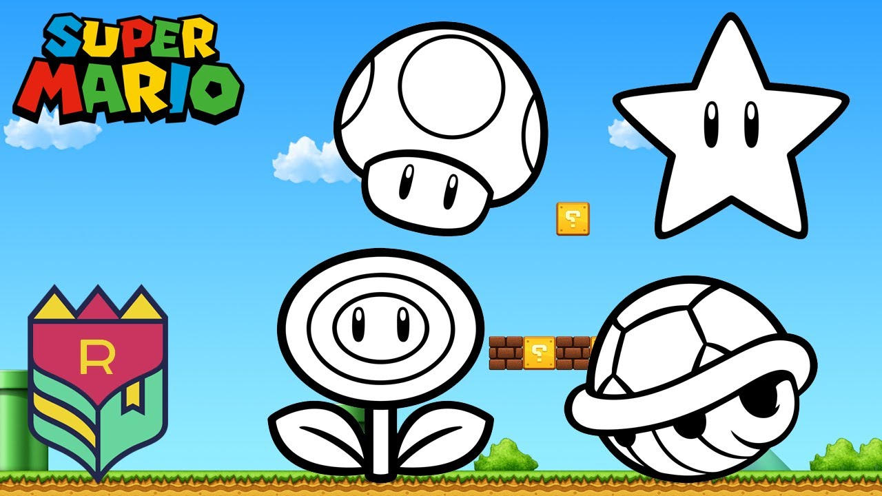 Coloring Super Mario Bros. - Fire Flower, Toad, Super Star and Kroopa  Troopa Coloring Book & Pages