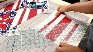 Fourth Of July Table Runner Project Part 3 - Cutting The Strip Banner 10 Inch Blocks