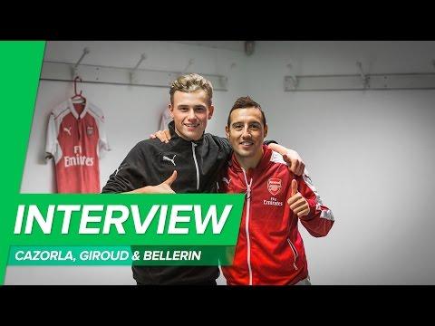 Speed quiz with Giroud, Cazorla & Bellerin in the Arsenal locker room