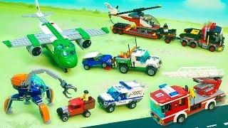 Пожарная машина Эвакуатор Полицейская Самолет Бульдозер - машины для мальчиков Распаковка Игрушки.