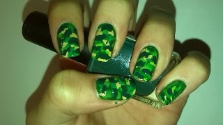 Easy Military/Camouflage Nail Art Tutorial | Gwis