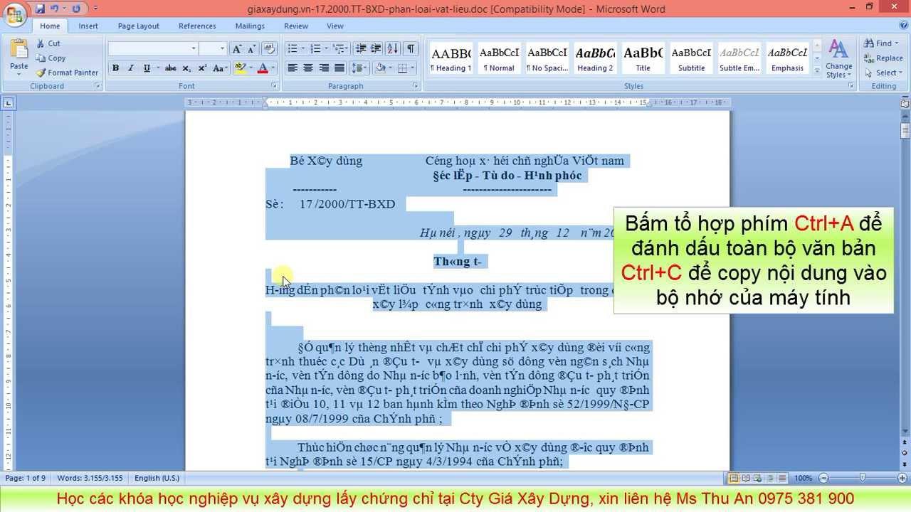 Đổi mã font Unicode - TCVN3 - VNI cả file Word Thông tư 17/2000/TT-BXD về vật liệu trong phút mốt