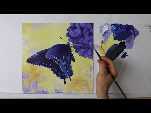 Butterfly Art Painting / Simple Yellow Abstract painting on Canvas Step by Step