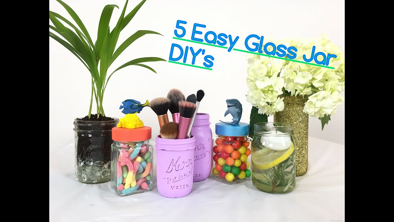 5 Easy Glass Jar DIYs ~ Gift ideas, Finding Dory Candy Jars, Makeup Brush  Holder, Decorative~ - YouTube
