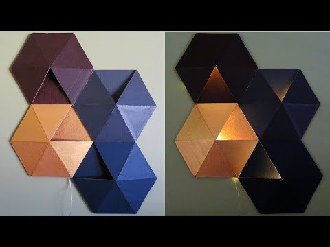 Geometric wall art with cardboard - Best out of waste - EzyCraft