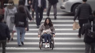 ♿️ struggling person in a wheelchair on a crosswalk | social experiment