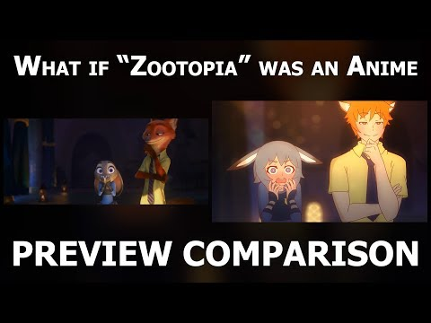 """What if """"Zootopia"""" was an anime (Preview Comparison) (4K)"""