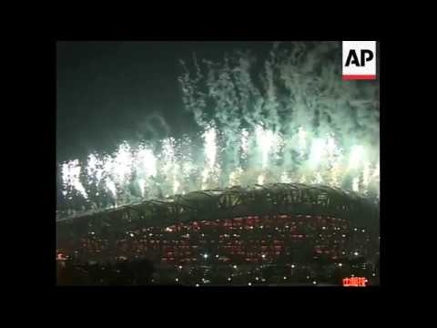 WRAP Fireworks at closing ceremony; flame goes out; departures from stadium