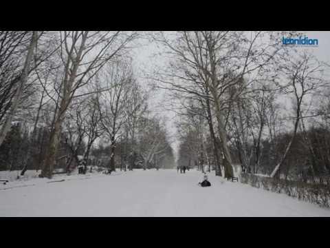 Snowing in Chisinau, Moldova