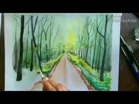 Simple watercolour forest Demonstration/ Watercolour landscape painting