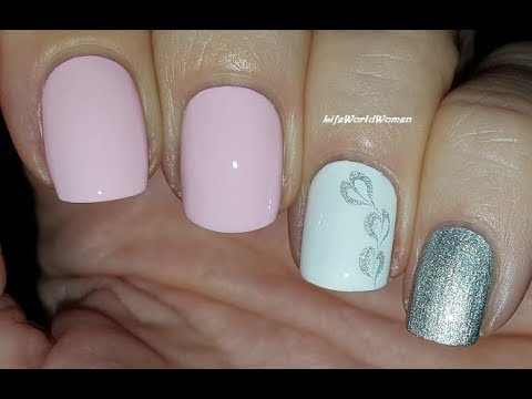valentine's day nail art 2020 2 / baby pink  silver