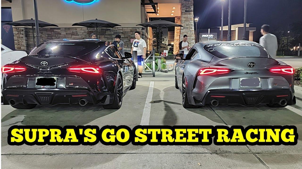 TOYOTA SUPRA'S GO STREET RACING & RUN INTO A HELLCAT!