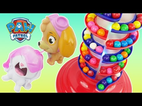 GIANT Gumball Machine Spiral Light Up Show and Paw Patrol Dubble Bubble Candies Game Toys Surprises