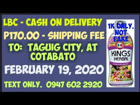 Nagpa-COD ng Kings Herbal Food Supplement sa Taguig City at Cotabato, February 19, 2020. Salamat po.