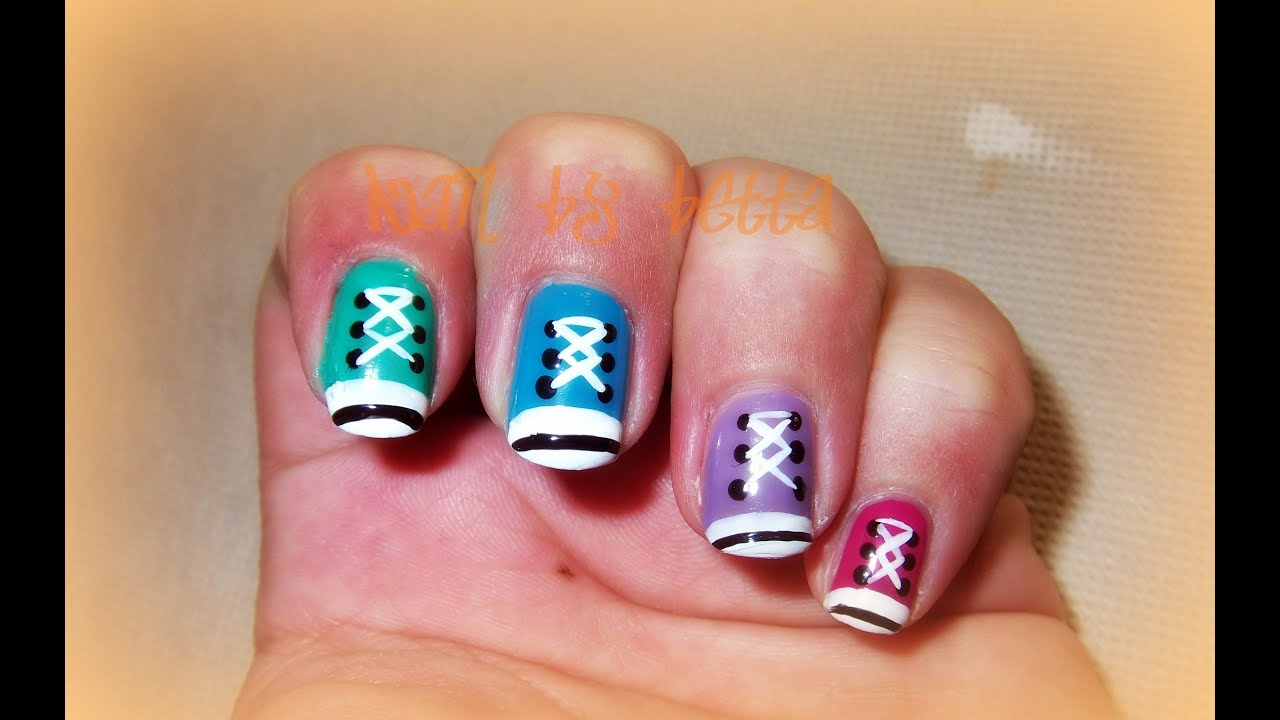 eddaad80a4fc98 Converse Nail art Tutorial - YouTube