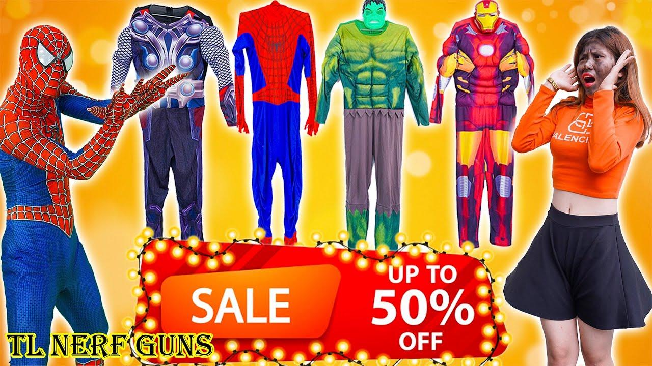 Superhero Nerf War: Become Spiderman X Warriors Nerf Guns Fight Criminal Group Rescue Friend