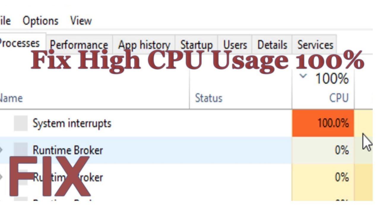 Fix High Cpu Usage 100 Slowpc Fix Windows 10 Youtube